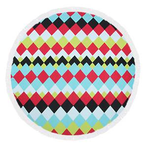 Color grid round towel with tassels
