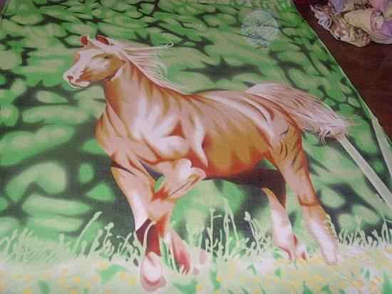 Polar Fleece Blanket Horse Prints Environmntal Freindly