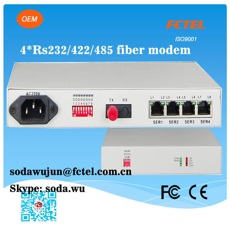 Industrial optical modem 4 channel rs232 rs422 rs485 serial to fiber converter