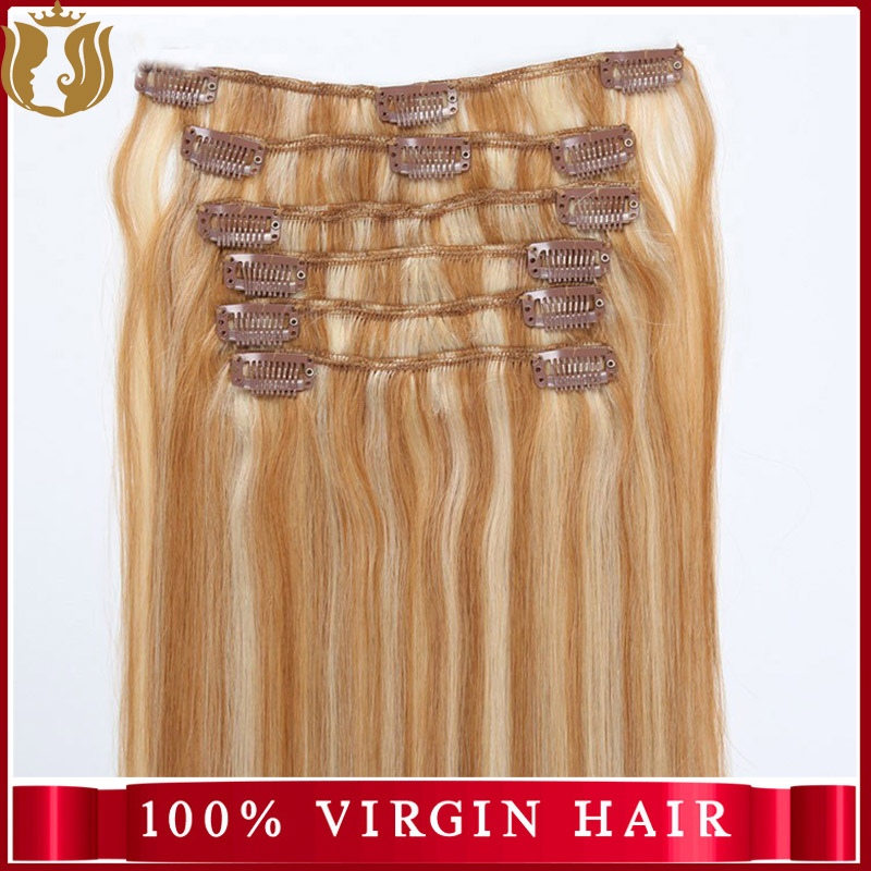 Wholesale Price Virgin Indian Hair Yaki Straight Human Hair Extension Double Drawn Remy Clip In Hair