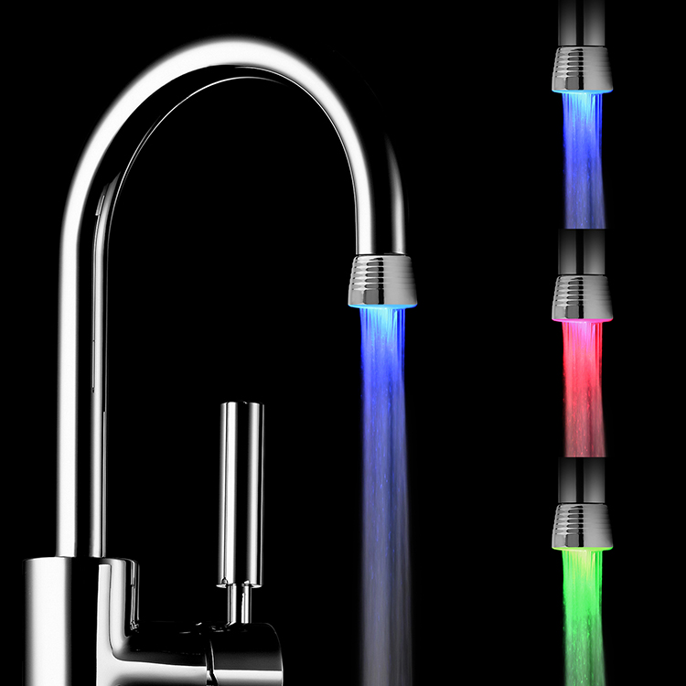 LED Plastic Automatic Bathroom Faucet 3 LED Colors Change Water Tap with Flexible LED