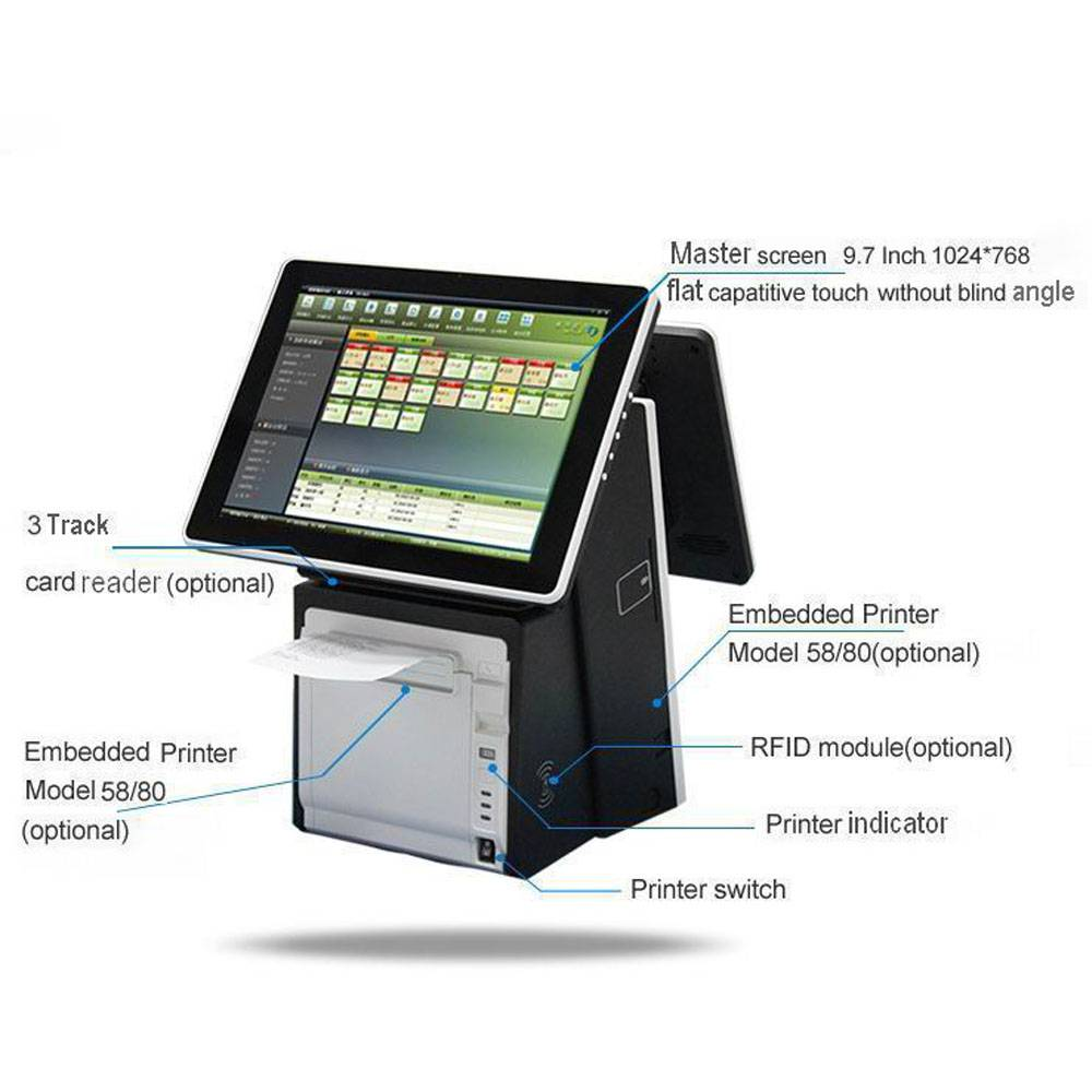 Dual Screen Pos Capacitive Touch Pos Systems with CE,FCC,ROHS