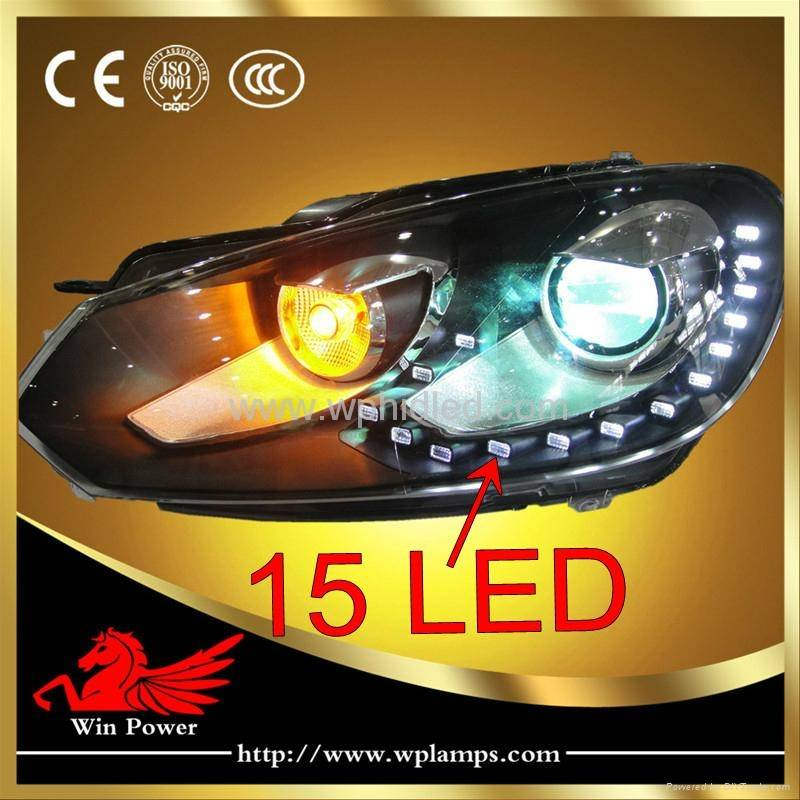 2011 2012 Volkswagen Glof 6 LED Headlight with Bi-xenon Projector
