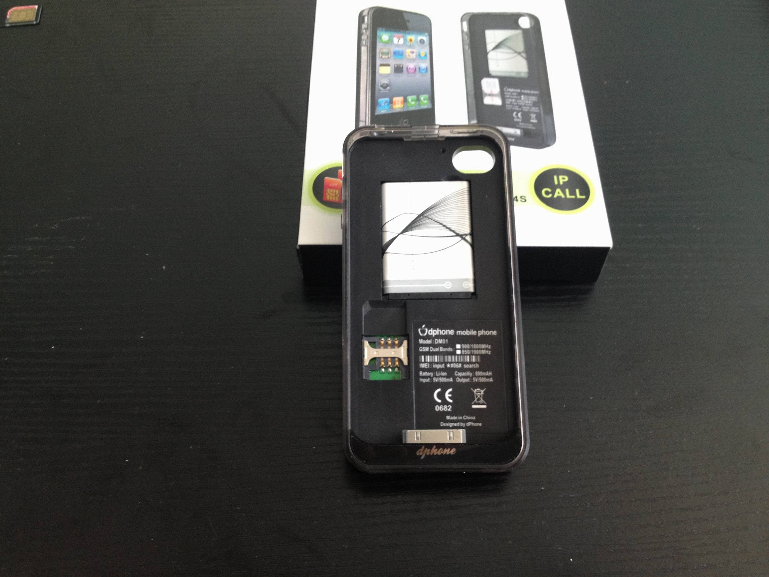 Dual SIM Dual Standby power case for iphone4/4S