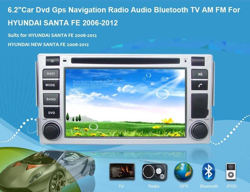 "6.2""Car Dvd Gps Navigation Radio Audio Bluetooth TV AM FM Vehicle Navigation For HYUNDAI SANTA FE 20"