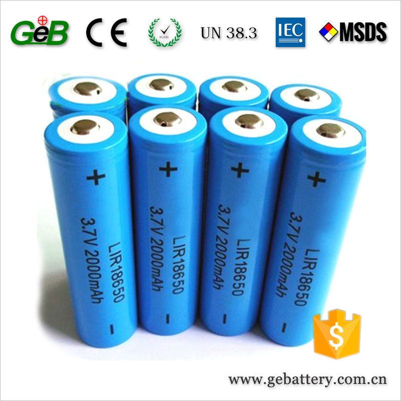 18650 Li-ion Batteries 3.7V 2000mAh Cylinder Rechargeable Battery for Electric/ Bluetooth/ Wireless