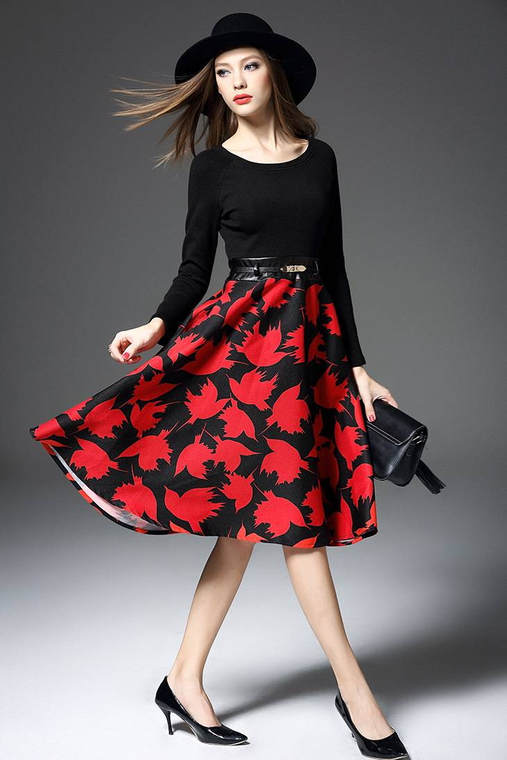 2015 European hot sale the printed flase two piece dress for ladies