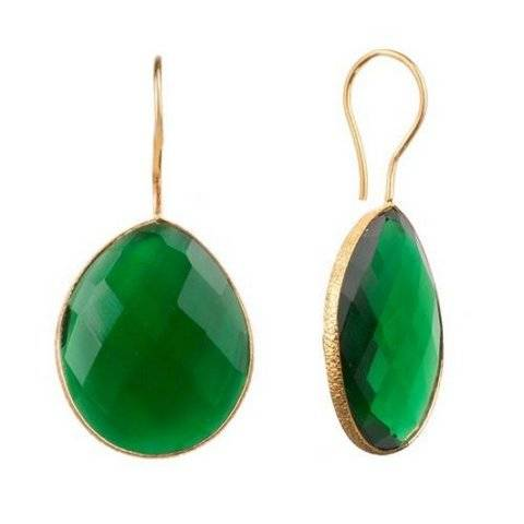 925 sterling silver Emerald Hydro Gemstone Earring-Vermeil Gold