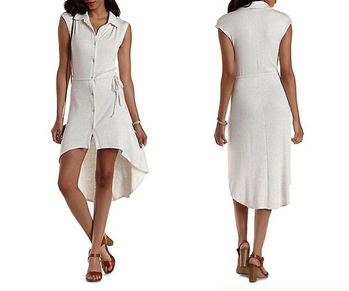 Ladies new design short front and long back shirt dress