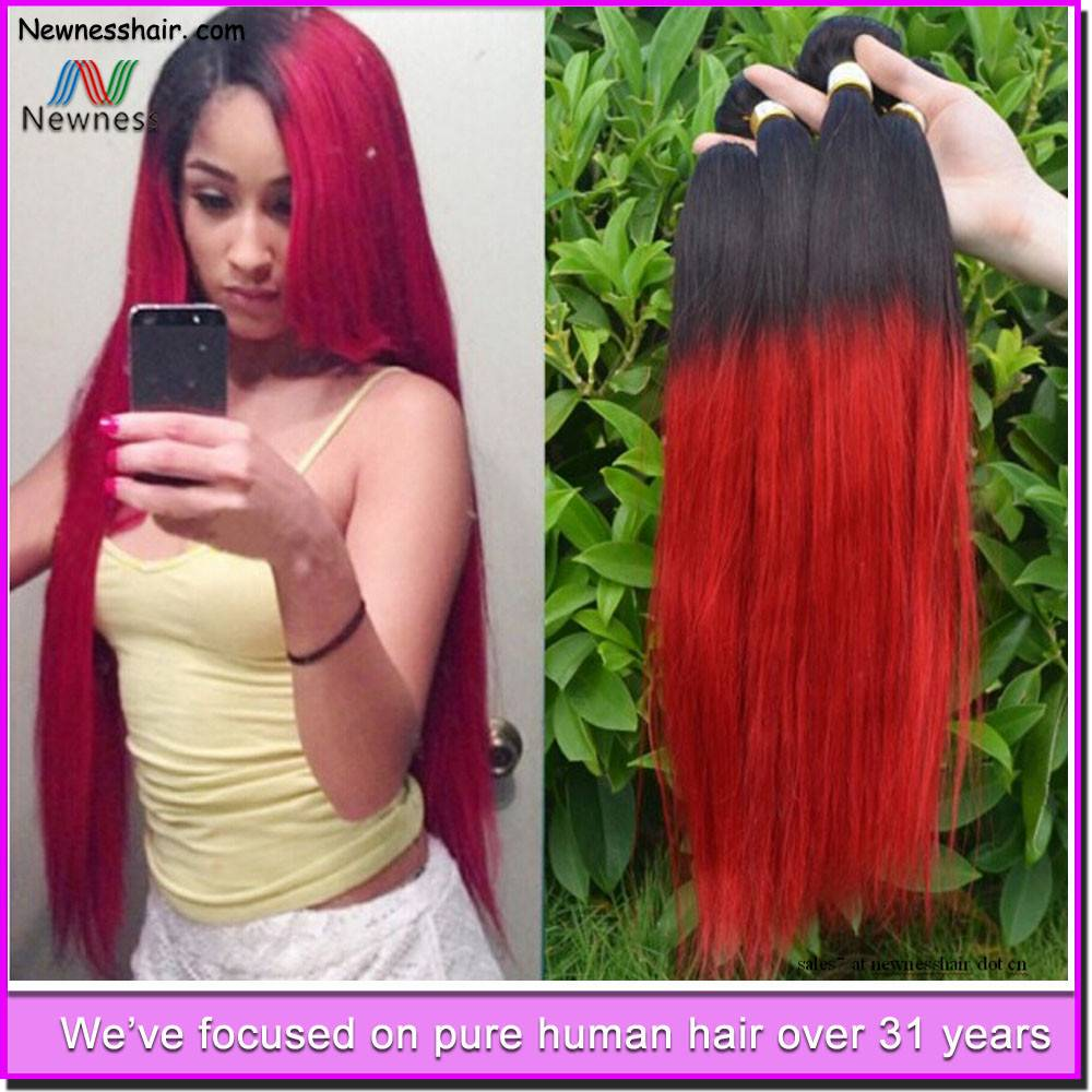 Two Color human Brazilian ombre hair weave real mink Brazilian hair
