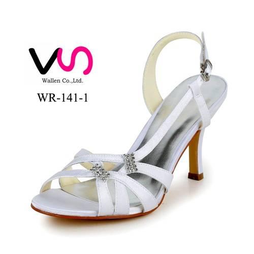 8cm high heel white dyeable satin sadal bridal wedding shoes