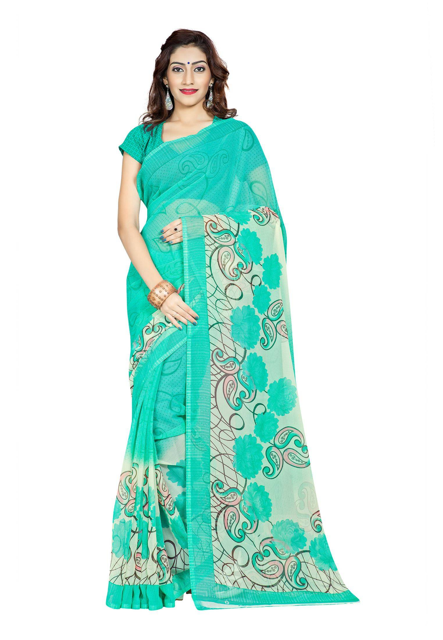Ambaji Casual Wear Green Colored Printed Chiffon Saree/Sari