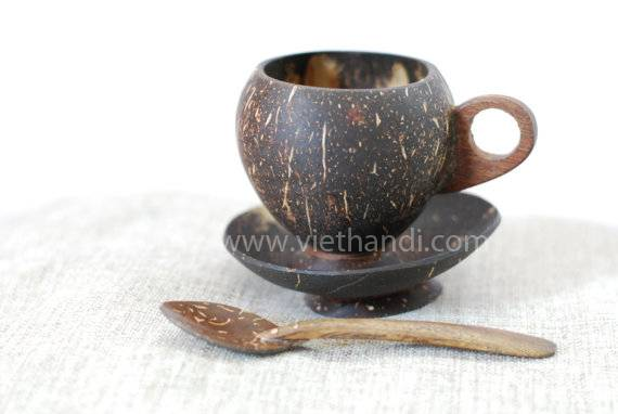 lovely set of coconut shell tea cup with tea spoon  VHW81