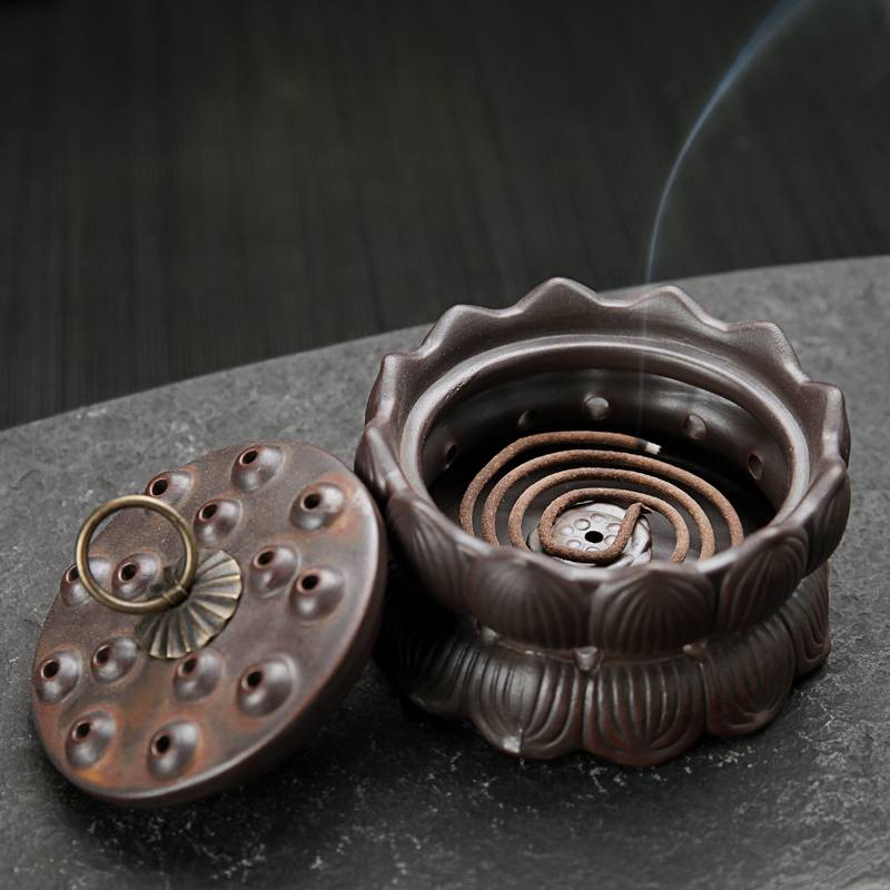 Ceramic Lotus Incense Burner Aromatherapy Sandalwood Furnace Censer for Incense Coil,Incense Stick H