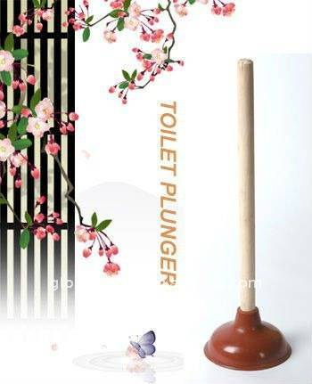 HQ2212 housewares rubber toilet pump/toilet plunger/drain buster with wooden handle
