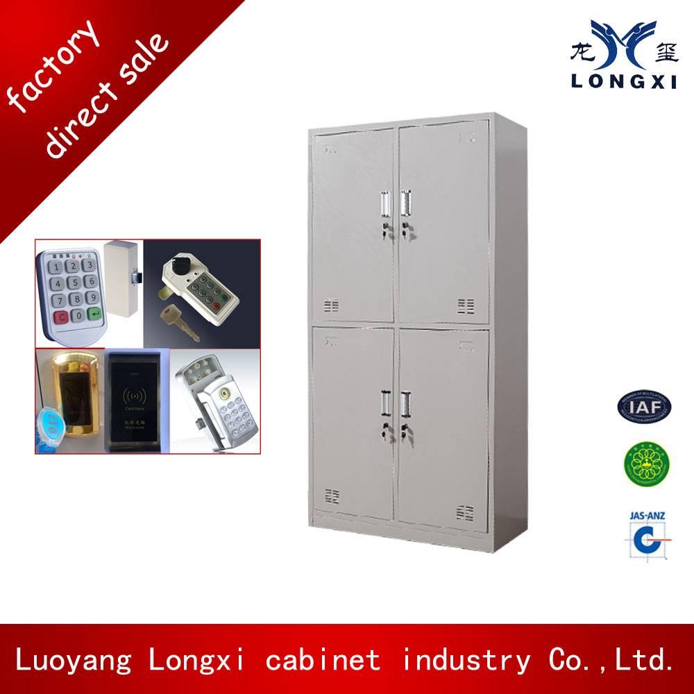 KD structure 4 door steel locker, metal locker cabinet, gym locker with optional lock