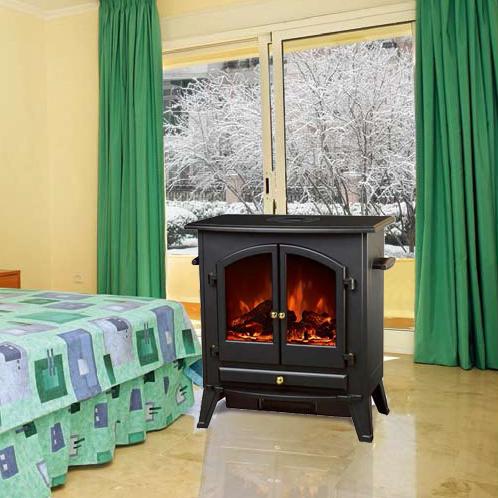Big MDF Freestanding Electric Fireplace Heater log stove ND-201 Flame chimenea electrica two doors i