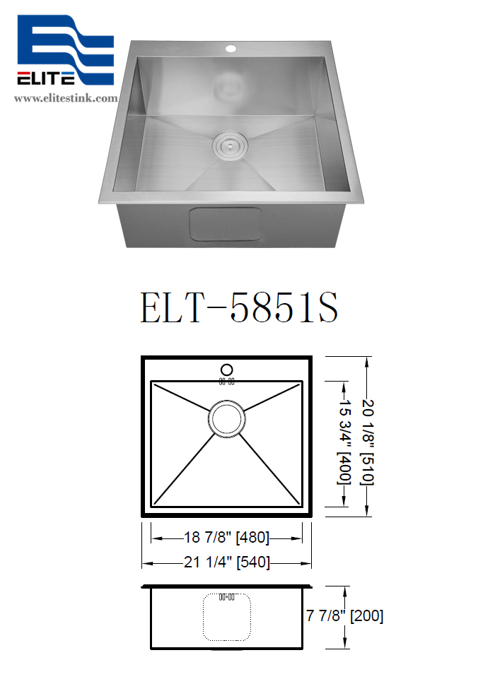 Stainless Steel Sink 16 gauge top mount