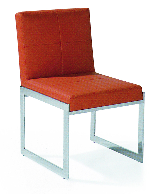 SHIMING FURNITURE MS-3604 Orange seated stainless steel foot dinning chair