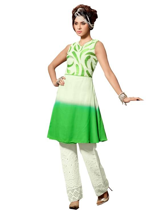 Shonaya Cream & Green Colour  Embroidered Georgette Stitched Kurti  MFHNR-60007