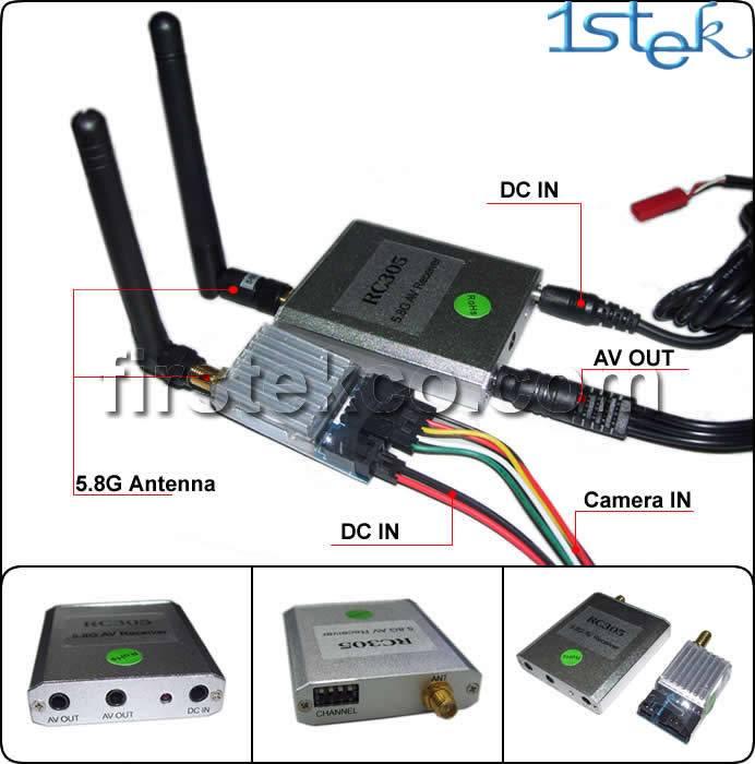 1 SET 5.8G 200mW Wireless AV Tx/Rx for FPV Quadcopter Aircraft