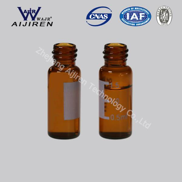 2ml, 11.6*32mm hplc vial with label,amber, 1st hydrol class borosilicate glass