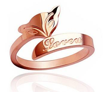 Small Fox Plated 18K Rose Gold Ring