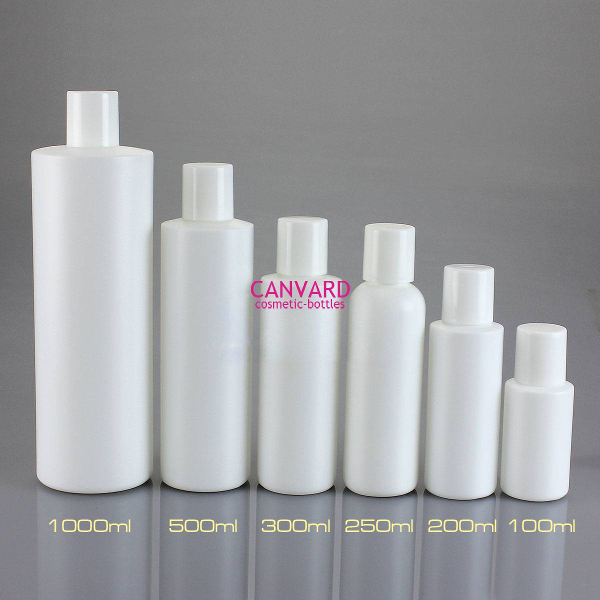 White plastic lotion bottle, white cosmetic bottle with cap, white empty plastic bottle
