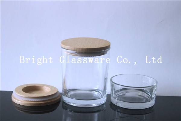Fashion Glass Candle Jar with wooden lid for gift