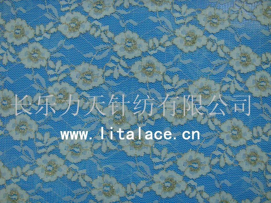 M1009 golden  lita spandex flower golden lace fabric