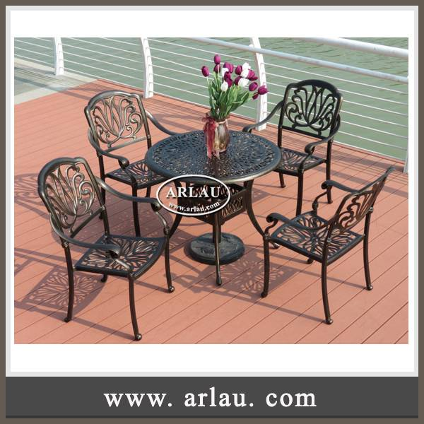 Arlau Wholesale Chinese Outdoor Furniture,Dining Table And Chair Set,Wrought Iron Garden Table And C