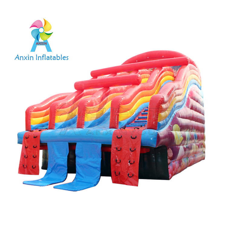 2018 hot-sale Rainbow Inflatable Water Slides used with swimming pool