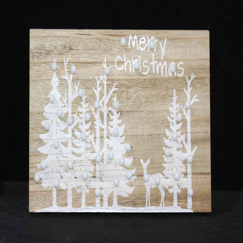 Home Decorative Wooden Christmas Wall Plaques LED
