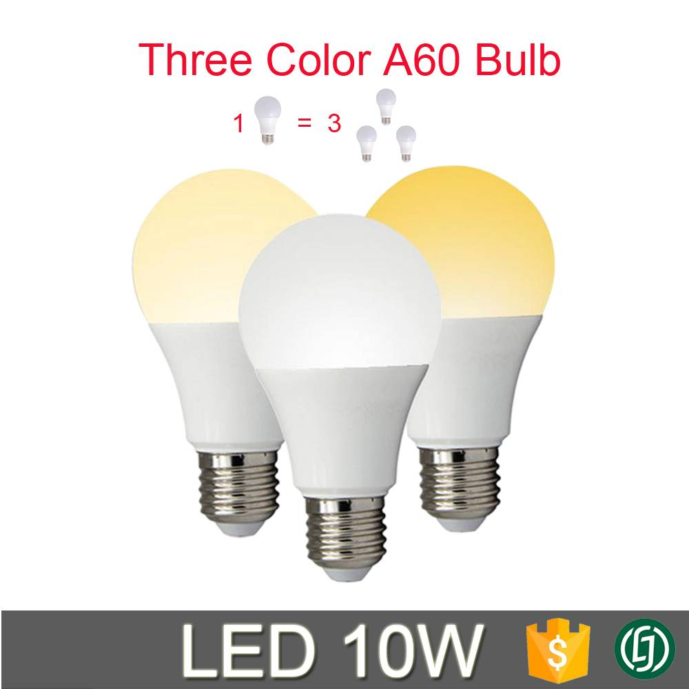 2016 New products three color adjustable A60 led bulb 6w 8w 10w