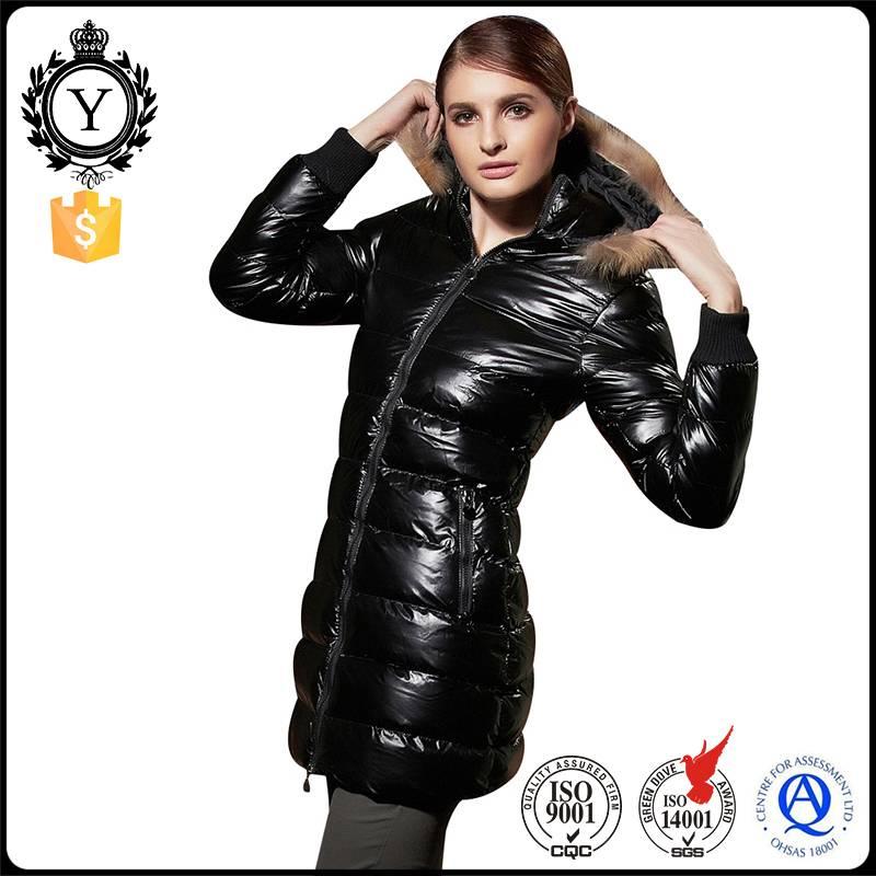 2016 Coutudi First Women Long Style Fashion Black Slim Goose Down Filled Winter Fur Parka Coat