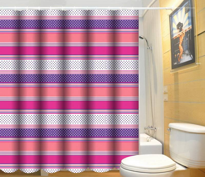 Eco-friendly 100% polyester eyelet shower curtain