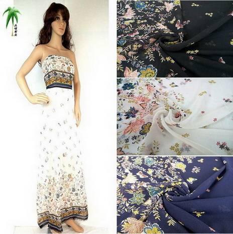 The size of small floral flower petals Bird Print Chiffon fabric lotus rose chiffon fabrics