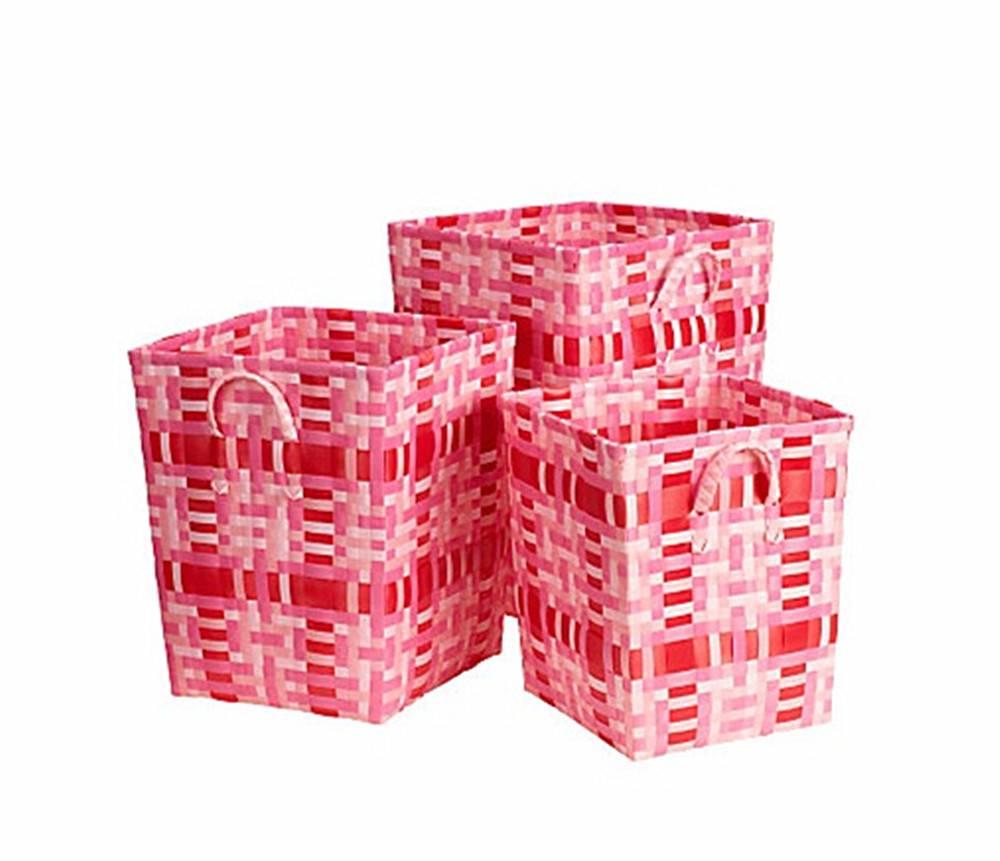 Pink square storage basket three-piece suit