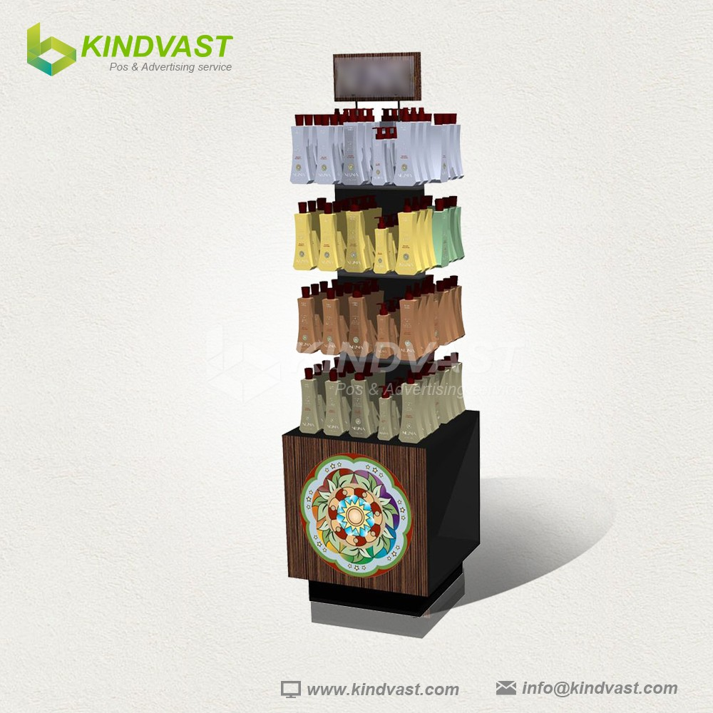 New design wood color shampoo cardboard display stand
