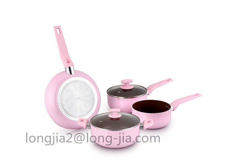 5pcs aluminum nonstick cookware set with 3-layer black nonstick coating, pink
