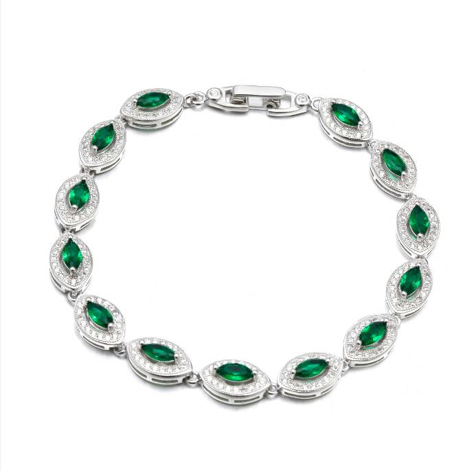 High Quality Sterling Silver Bracelet with Green Marquise Stones
