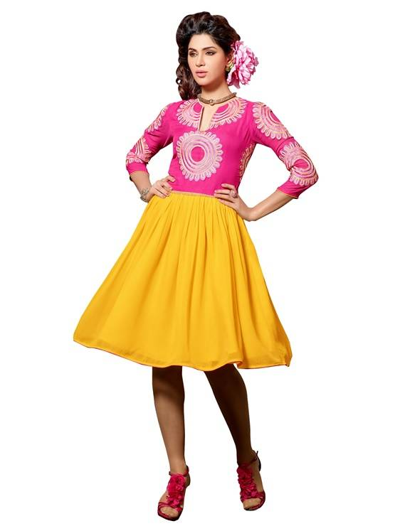 Shonaya Pink & Yellow Colour  Embroidered Georgette Stitched Kurti  MFHNR-60005