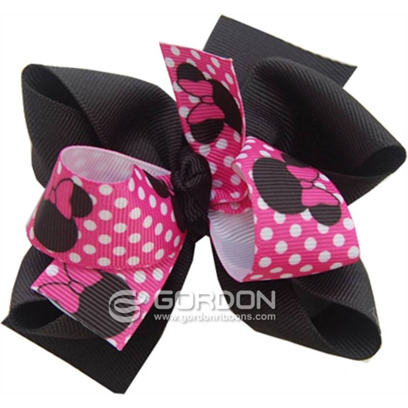 Pink Black Minnie Mouse Hair Bow