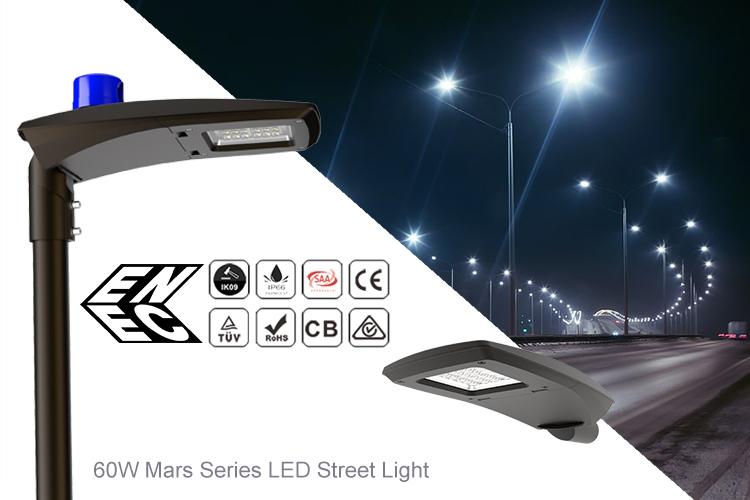 60W LED Street Lights IP66 Mars Series Roadway Lamp
