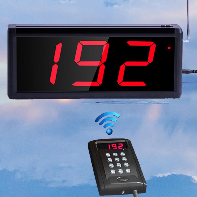 Wireless queuing and calling system,1pcs wireless keyapd+1pcs wireless screen