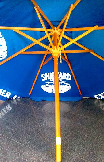 Wooden Parasol Umbrella with sunbrella canopy printed 4C logo