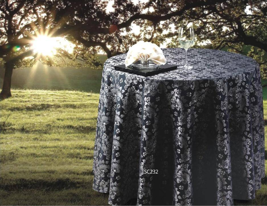 Hotel Banquet Wedding use table cloth 100% polyester with jacquard Damask fabric