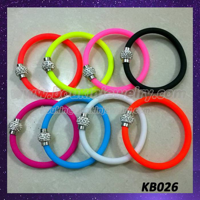 Colorful silicon bracelets with magnet shamballa clasp