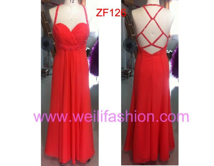 Cheap Long Applique Beading Chiffon Evening Dresses