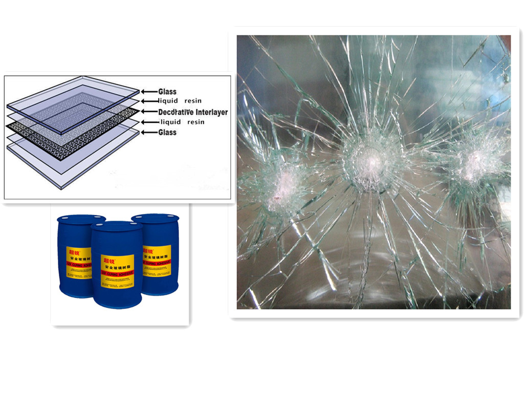 SAOSA UV cured resin for bullet proof laminating glass with EN1063